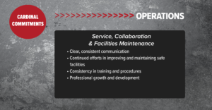 Operations: Service, Collaboration & Facilities Maintenance Clear, consistent communication • Continued eff orts in improving and maintaining safe facilities • Consistency in training and procedures • Professional growth and development
