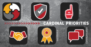 Cardinal Priorities: relationships, integrity, respect, pride, excellence, communication
