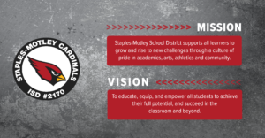 Mission: Staples-Motley School District supports all learners to grow and rise to new challenges through a culture of pride in academics, arts, athletics and community. Vision: To educate, equip, and empower all students to achieve their full potential, and succeed in the classroom and beyond.